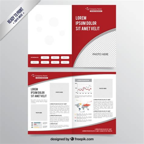 red brochure template vector free download