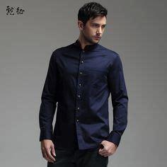 Kemeja Davin Navy modern mandarin collar snap button shirt white