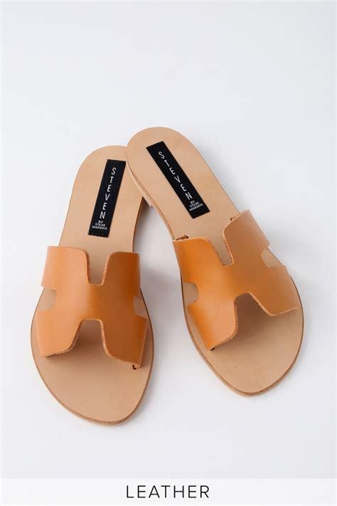 steven by steve madden greece cognac leather slide sandals
