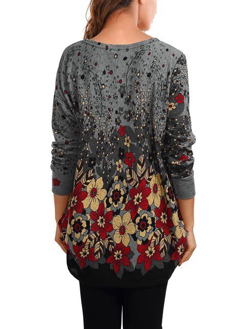 womens shirt pattern uk women s long sleeve pattern printed loose tunic knitted