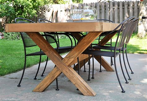 diy table with cross legs diy outdoor table free plans cherished bliss