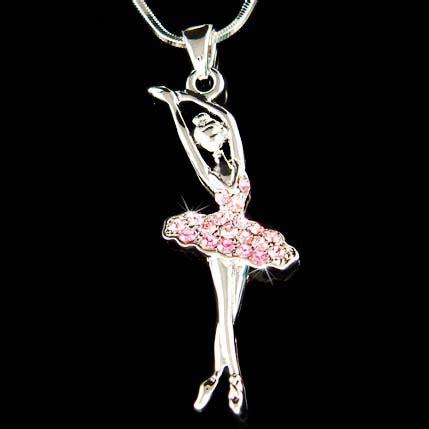 Ballerina Pendant Necklace pink swarovski ballerina ballet by kashuen