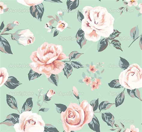 Vintage Flowers Pattern classic wallpaper seamless vintage flower pattern on green