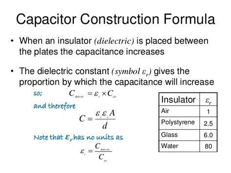 capacitor calculation formula capacitors