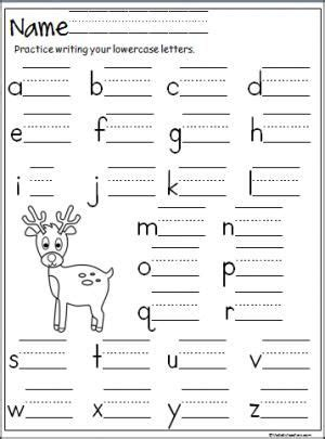 up letter to winter reindeer lowercase letter writing practice page terrific
