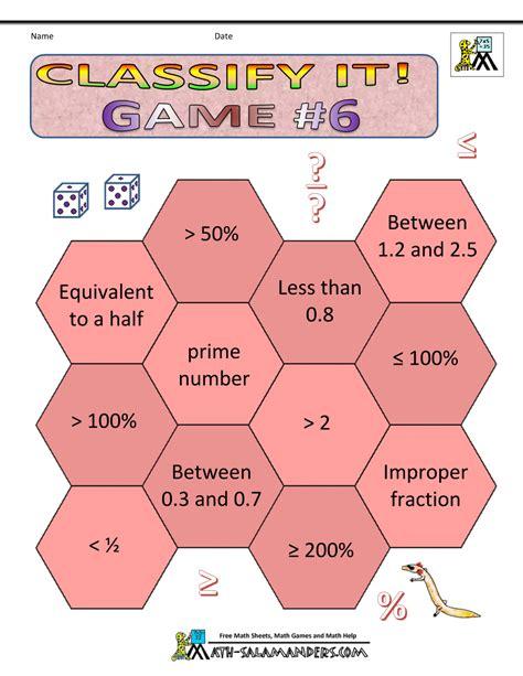printable math games grade 6 math games worksheets
