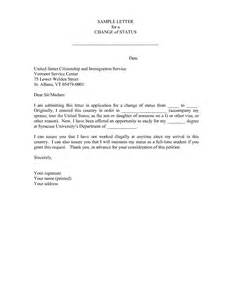 change of status cover letter best photos of change of status letter sle status