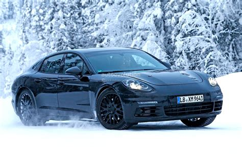new porsche 2016 2016 porsche panamera spied playing in the snow