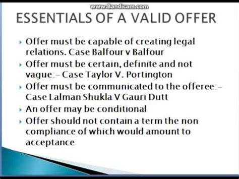 Essential Of Offer Business Law Youtube