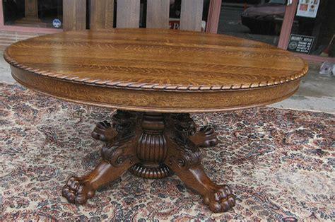 Bradford Dining Room Furniture Quartersawn Oak Lion Headed Claw Foot Dining Table