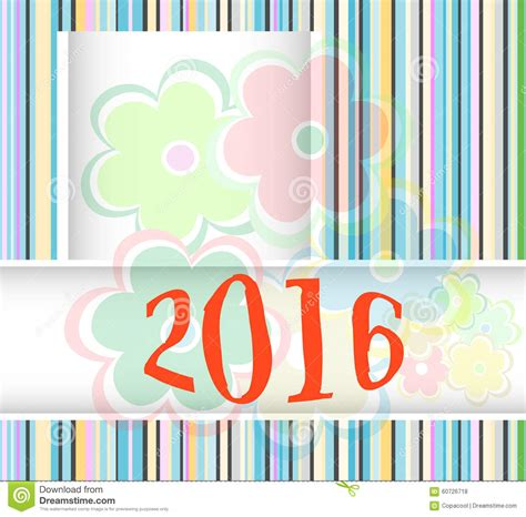 flower for new year 2016 new year 2016 card with flowers set
