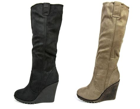 new womens faux suede knee high wedge heel boots