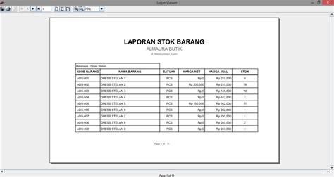 format laporan barang contoh aplikasi penjualan otomasi stok barang ogat dezaign