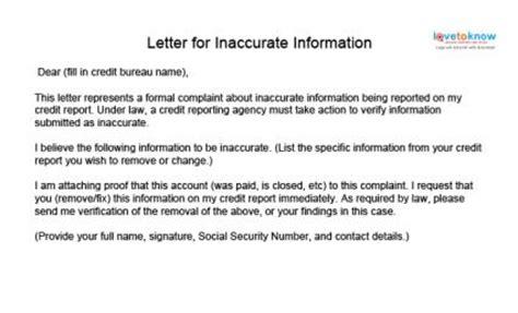 info credit report update letter zip