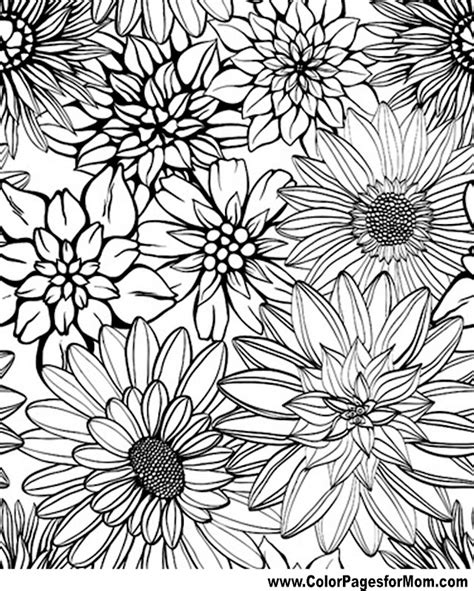 coloring pages for adults floral free flowers coloring pages