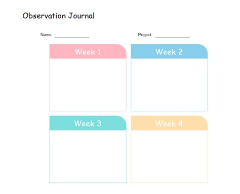 printable science observation journal observation chart templates printable and editable