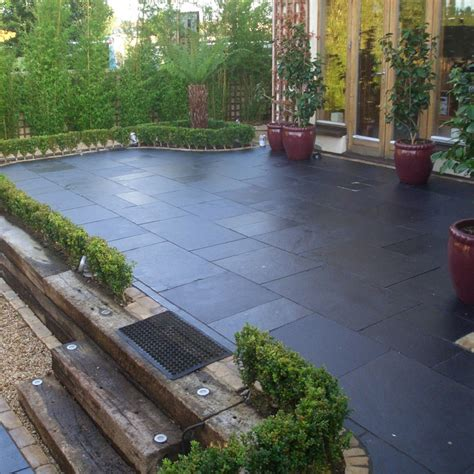 Black Limestone Patio Slabs by Strata Paving Riven Limestone Whitchurch Range Black