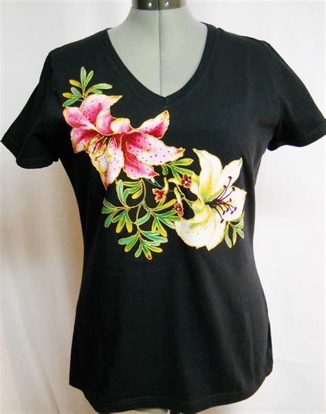 Handmade Shirts - s black shirt custom floral by