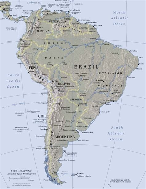 topographical map of south america south america topographical
