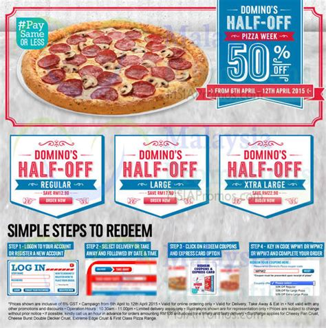 domino pizza promo kamis domino s pizza 50 off pizzas coupon codes 6 12 apr 2015