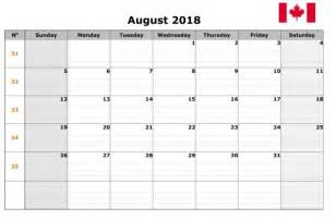August 2018 Calendar August 2018 Calendar Canada Calendar Template Excel