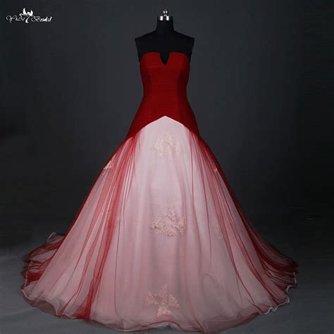 rsw red wedding dress ball gown small open  neck cheap