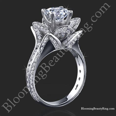 flower wedding band ring 1 78 ctw original large blooming flower ring bbr434 unique engagement rings for