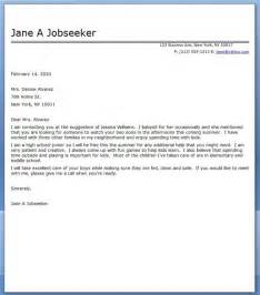 Baby Cover Letter by Cover Letters For Babysitting Cover Letter Templates