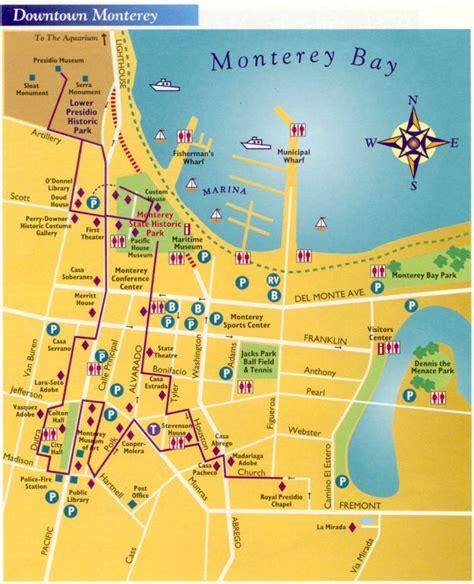 san jose monterey map map of downtown monterey