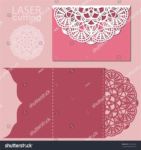greeting card template for open laser cut wedding invitation card template stock vector