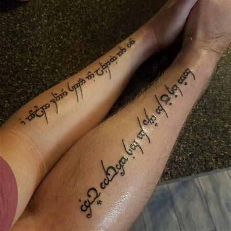elven tattoos got an elvish with my fiance today lotr