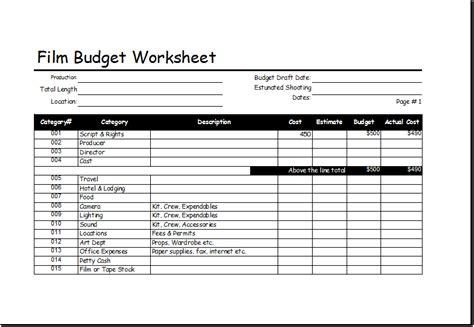 Film Budget Worksheet Template For Excel Excel Templates Draft Budget Template