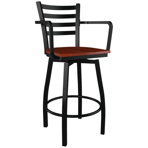 Bar Stools Metal by Swivel Ladder Back Metal Bar Stool With Arms