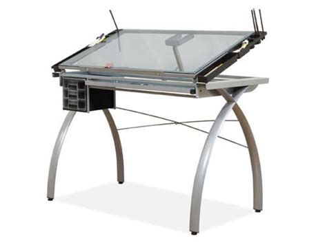 Futura Studio Design Rta Glass Top Drawing Table Glass Drafting Table