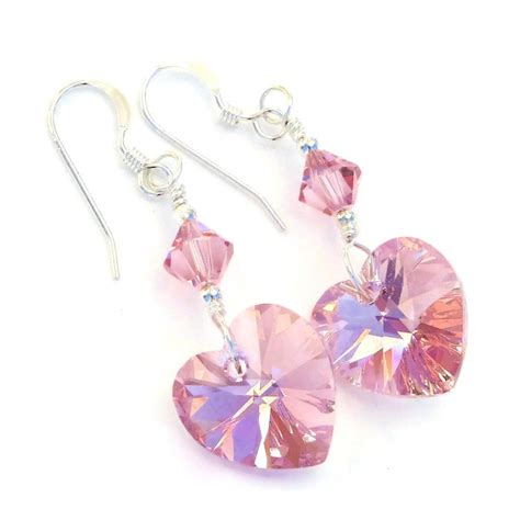 Handmade Swarovski Earrings - quot perfectly pink pink hearts valentines earrings
