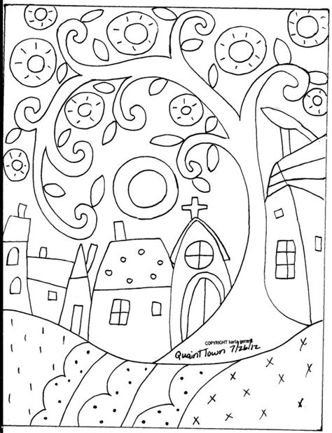 doodle name gerald rug hooking paper pattern quaint town folk abstract