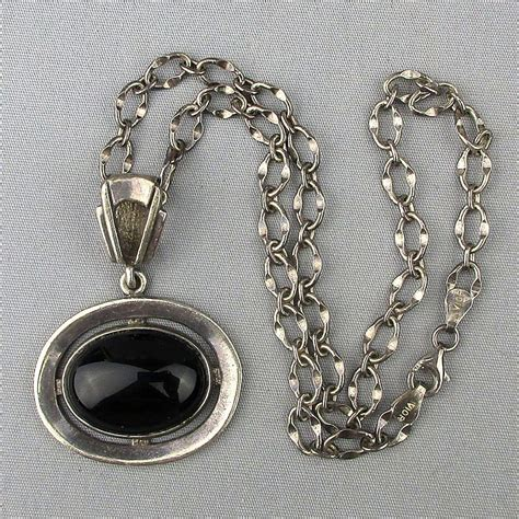 Onyx W Chain Link Necklace by Vintage Sterling Silver Vior Chain W Onyx 925 Pendant