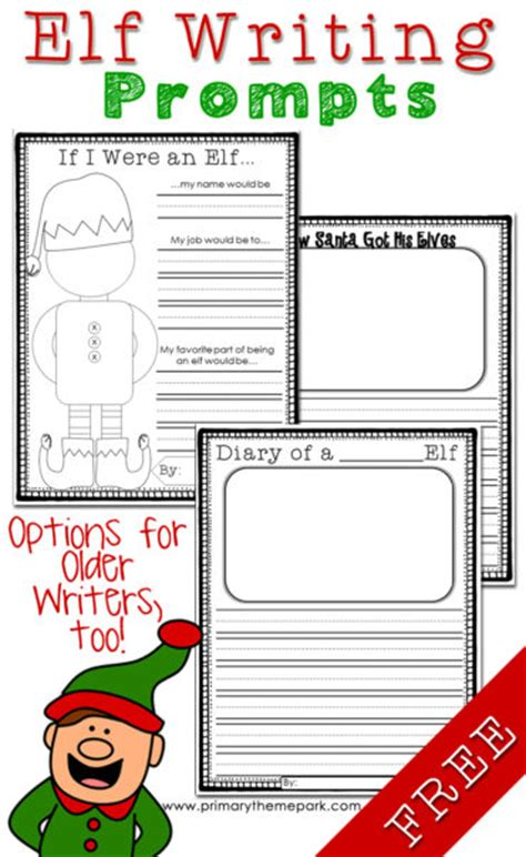 printable elf story elf writing prompts and ideas primary theme park