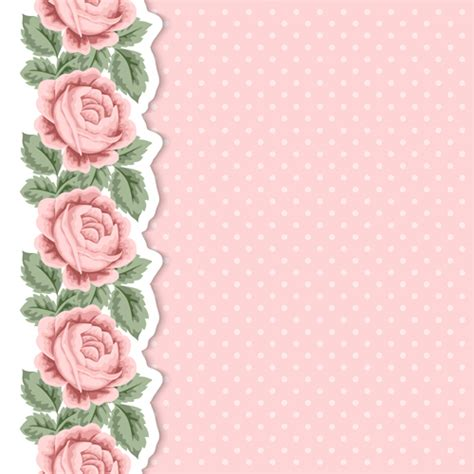 Pink Card pink flower with vintage cards vectors 01 vector card