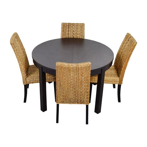66 Off Macy S Ikea Round Black Dining Table Set With Black Dining Table Set