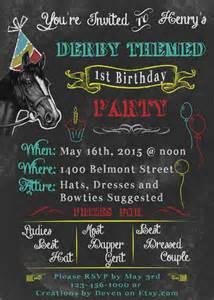 kentucky derby themed birthday invitations chalkboard