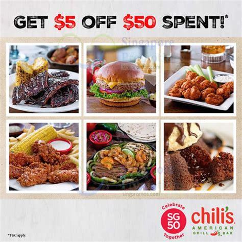 chilis coupons 2015 menu 3 chili s spend 50 get 5 sg50 promo 7 10 aug 2015