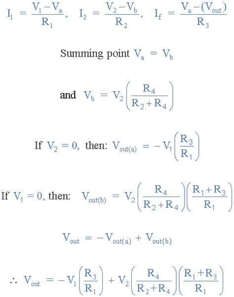 capacitor gain formula differential lifier the voltage subtractor