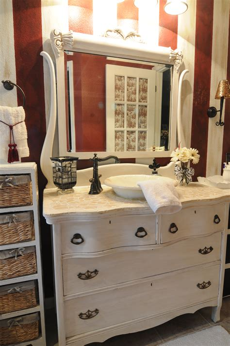 antique dresser made into a bathroom sink bathroom