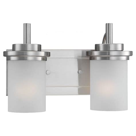 Sea Gull Vanity Lighting Sea Gull Lighting Winnetka 2 Light Brushed Nickel Vanity Light 44661 962 The Home Depot