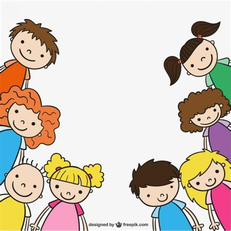 imagenes de niñas alegres kindergarten children drawing vector free download