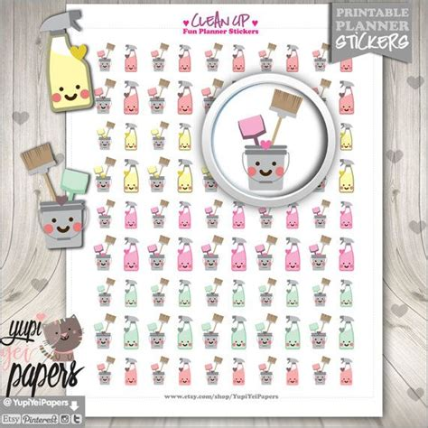 printable planner accessories clean up stickers planner stickers housekeeping planner