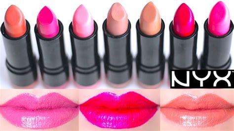 NYX Round Lipstick Swatches on Lips 7 colors - YouTube Nyx Strawberry Milk Lipstick