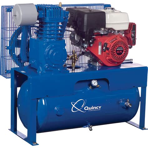 quincy qt 7 5 splash lubricated reciprocating air compressor 13 hp honda gas engine 30