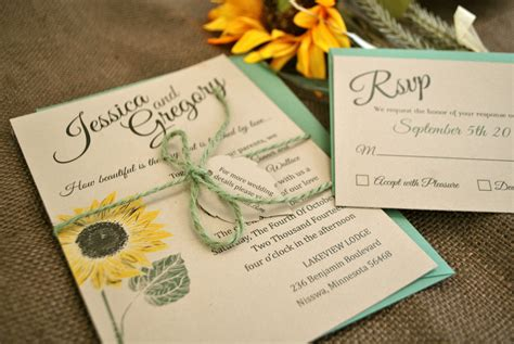 sunflower wedding invites kraft sunflower wedding invitation